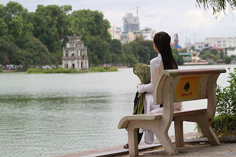 View to Turtle tower, Hoan Kiem Lake - best places to visit in Hanoi