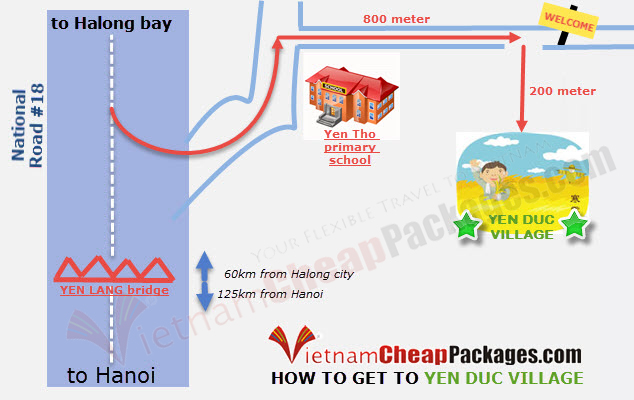 Map To Yen Duc Village