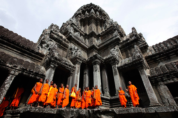 Monks the symbol of Angkor Wat history